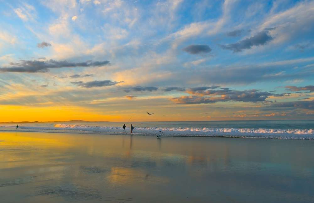 beach fishing dusk